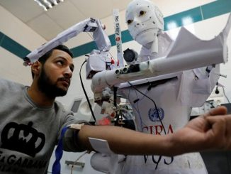 Robot that can detect coronavirus and enforce face mask rules